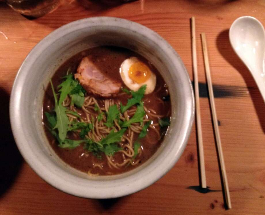 The burnt miso ramen ($15) with chashu, salt-cured egg, chervil and mizuna. Note to self: Next time line up chopsticks for a prettier picture.