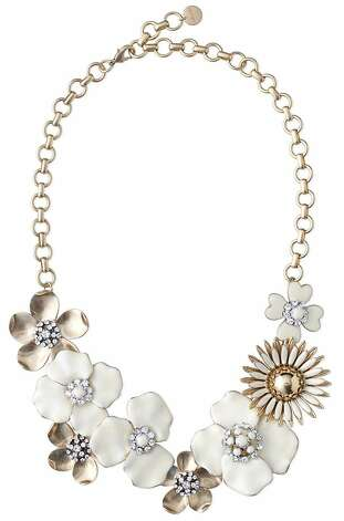 "This statement necklace from Stella & Dot is inspired by the flower brooches Blythe Harris' grandmother used to wear. ""For this season, I love the Dot Bloom necklace. It is so happy and fresh and works over any color."" ($198, available January 11). Photo: Stella & Dot"