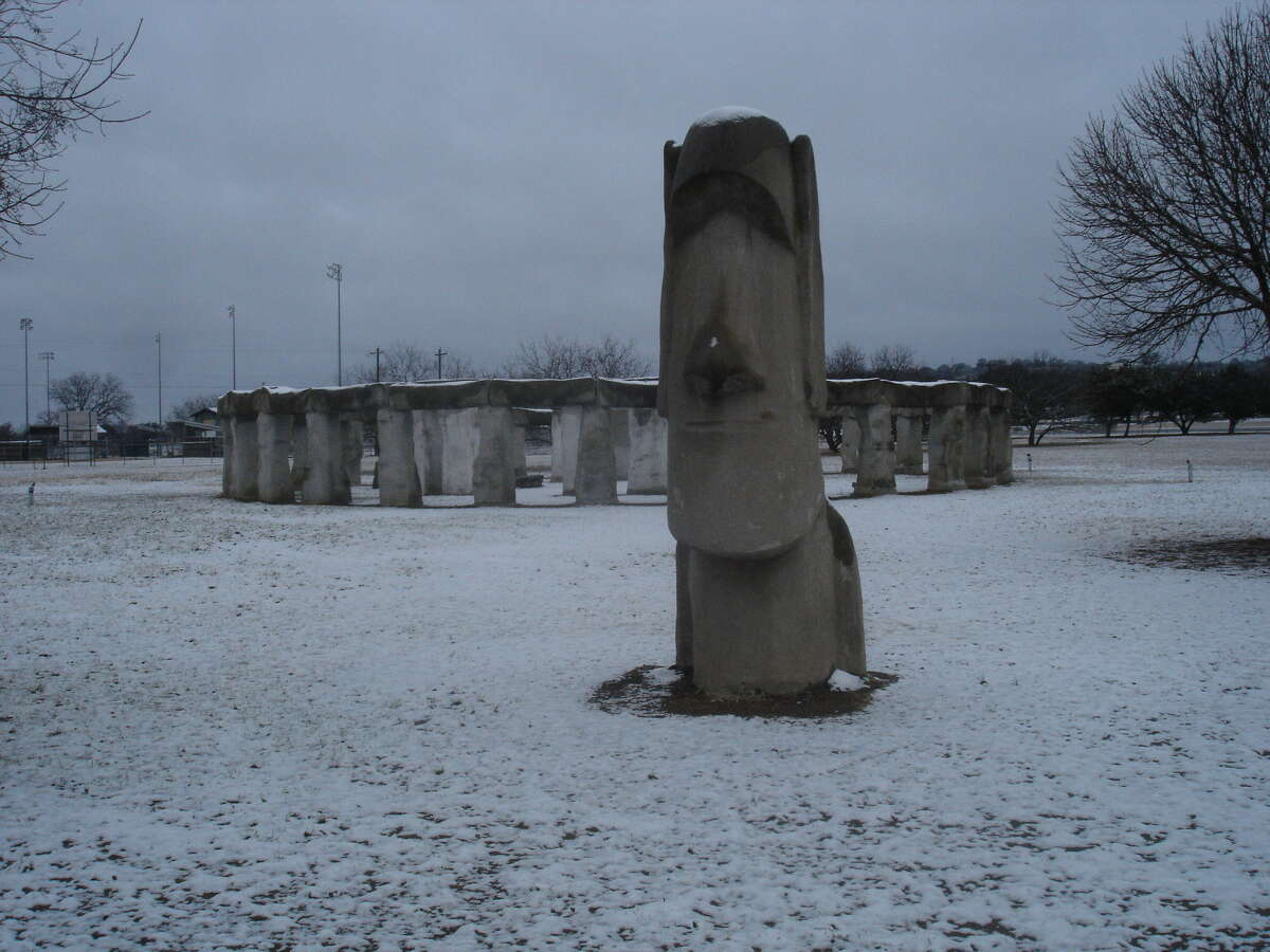 Snow sits on one of the Easter Island head replicas and Stonehenge II on the campus of the Hill Country Arts Foundation, at 120 Point Theatre Road in Ingram, about 65 miles northwest of San Antonio. Stonehenge II is free and open to the public daily. The photo was taken Jan. 4 when the Hill Country got a dusting of snow.