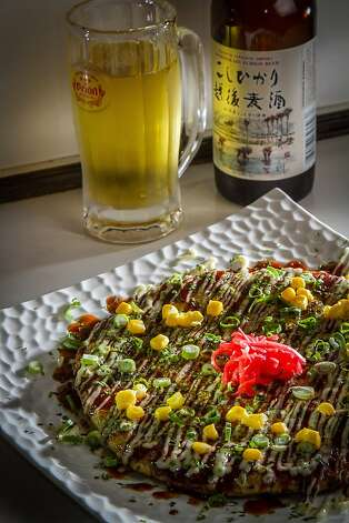The okonomiyaki pancake with a beer at Halu in San Francisco. Photo: John Storey, Special To The Chronicle