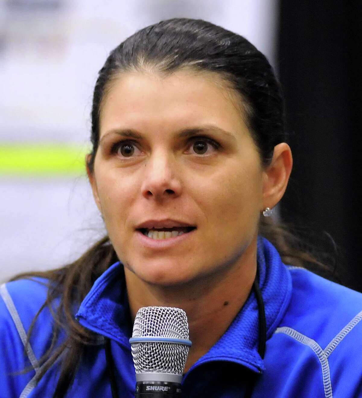 American soccer player, Mia Hamm, answers questions at the Soccer Night in Newtown on Monday Jan. 7, 2013.