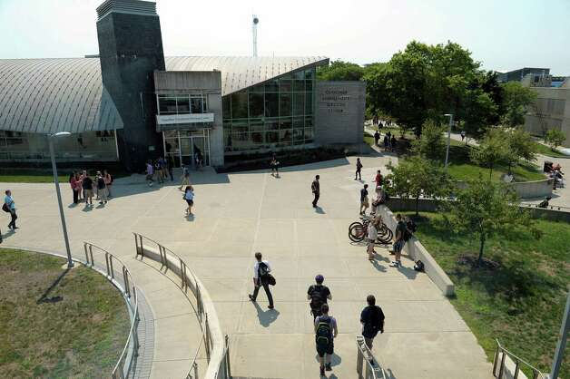 Students make their way between classes on the campus of Hudson Valley Community College on Thursday, Aug. 30, 2012 in Troy, N.Y.   (Paul Buckowski / Times Union archive) Photo: Paul Buckowski / 00019077A