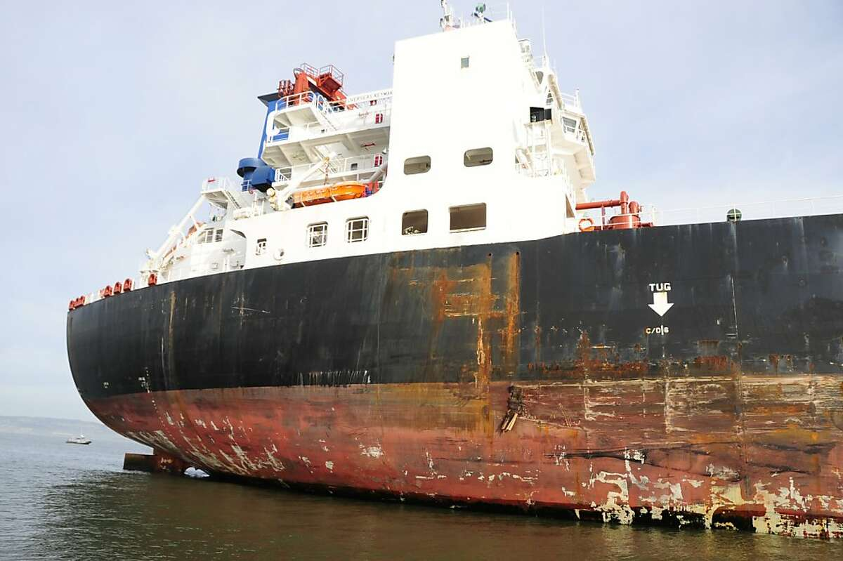 The damage to the 752-foot tanker Overseas Reymar following a collision with tower six of the San Francisco Bay Bridge, Monday, Jan. 7, 2013.