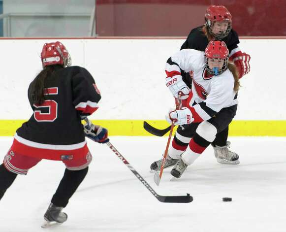 New Canaan high school vs Greenwich high school in a girls ice hockey game played at the Dorothy Hamill Skating Rink, Greenwich, CT on Monday January 7th, 2013. Photo: Mark Conrad / Stamford Advocate Freelance