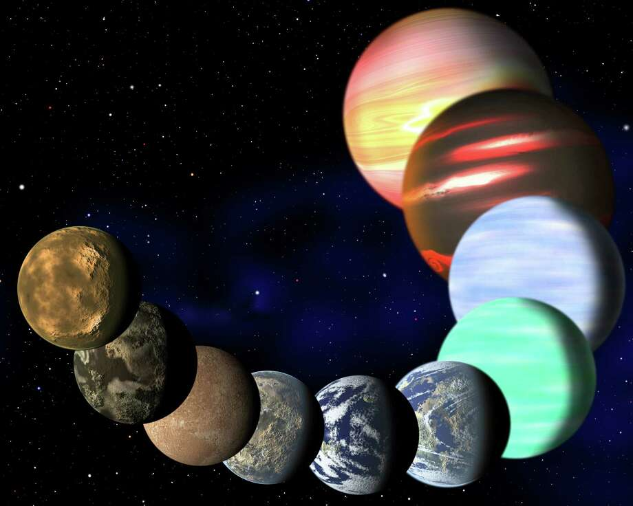 This artist rendering released Monday shows the different types of planets detected by NASA's Kepler spacecraft in the Milky Way galaxy. Photo: HOEP / Harvard-Smithsonian Center for A