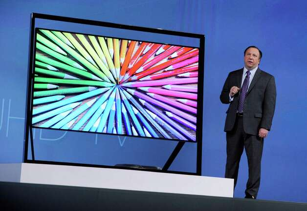 Vice President of Samsung Electronics America Joe Stinziano unveils Samsung's Ultra HDTV at a press event at the Mandalay Bay Convention Center for the 2013 International CES on January 7, 2013 in Las Vegas, Nevada. Photo: David Becker, Getty Images / 2013 Getty Images