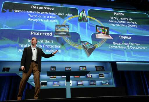 Kirk Skaugen, Intel Vice President and General Manager of the PC Client Group, announces new developments at the 2013 International Consumer Electronics Show in Las Vegas on January 7, 2013. The annual CES which takes place fromJanuary 8-11 is a place where industry manufacturers, advertisers and tech-minded consumers converge to get a taste of new gadgets and innovations coming to the market each year.   AFP PHOTO/JOE KLAMARJOE KLAMAR/AFP/Getty Images Photo: JOE KLAMAR, Getty Images / AFP