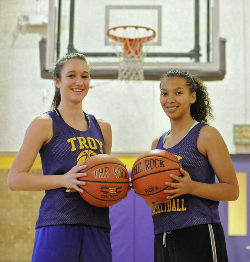 Troy guards Mary Pattison, left, and Kiana Patterson at basketball practice on Tuesday Dec. 18, 2012 in Troy, N.Y. (Lori Van Buren / Times Union) Photo: Lori Van Buren