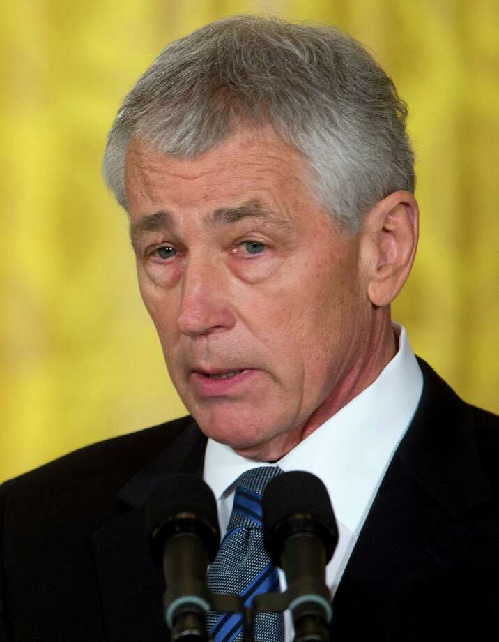 Former Nebraska Sen. Chuck Hagel, president Barack Obama's choice for defense secretary, speaks in the East Room of the White House in Washington, Monday, Jan. 7, 2013, where the president made the announcement. (AP Photo/Carolyn Kaster) Photo: Carolyn Kaster