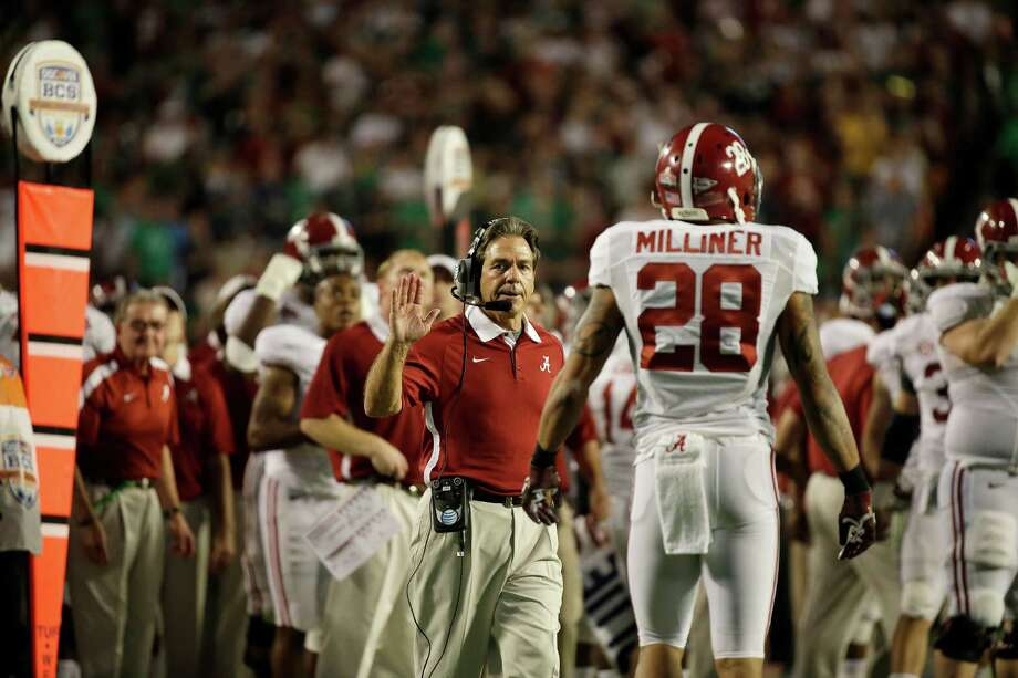 Alabama head coach Nick Saban reacts a play against Notre Dame during the second half of the BCS National Championship college football game Monday, Jan. 7, 2013, in Miami. (AP Photo/David J. Phillip) Photo: David J. Phillip, Associated Press / AP