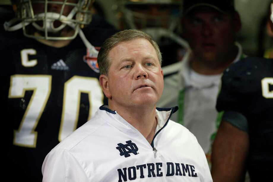 Notre Dame head coach Brian Kelly watches play against Alabama during the second half of the BCS National Championship college football game Monday, Jan. 7, 2013, in Miami. (AP Photo/Chris O'Meara) Photo: Chris O'Meara, Associated Press / AP