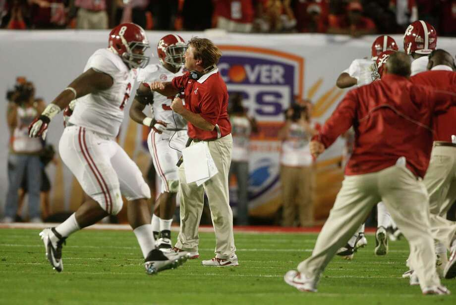 Alabama Defensive Coordinator Kirby Smart reacts against Notre Dame during the first half of the BCS National Championship college football game Monday, Jan. 7, 2013, in Miami. (AP Photo/John Bazemore) Photo: John Bazemore, Associated Press / AP