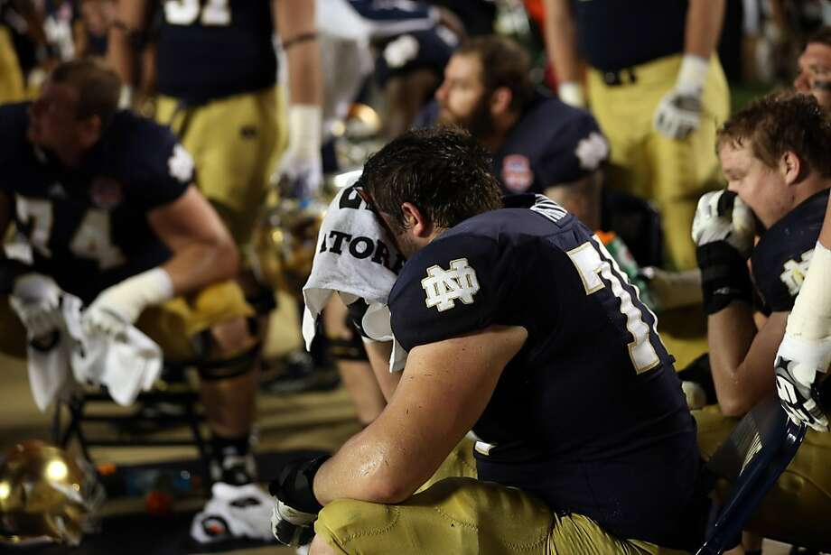 MIAMI GARDENS, FL - JANUARY 07:  The Notre Dame Fighting Irish look on after losing against the Alabama Crimson Tide by a score of 42-14 inthe 2013 Discover BCS National Championship game at Sun Life Stadium on January 7, 2013 in Miami Gardens, Florida.  (Photo by Streeter Lecka/Getty Images) Photo: Streeter Lecka, Getty Images
