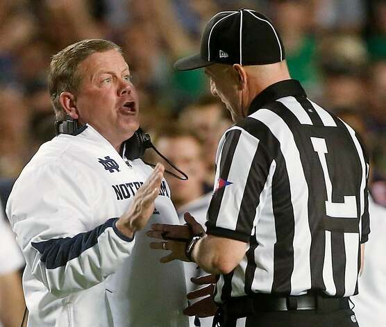 Notre Dame head coach Brian Kelly argues a call during the first half of the BCS National Championship college football game against Alabama Monday, Jan. 7, 2013, in Miami. (AP Photo/John Bazemore) Photo: John Bazemore, Associated Press