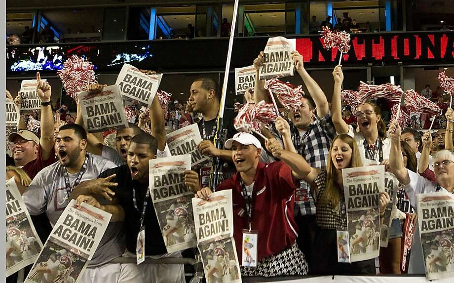 Alabama fans celebrate following a 42-14 win against Notre Dame in the BCS National Championship game at Sun Life Stadium on Monday, January 7, 2013, in Miami Gardens, Florida. (C.W. Griffin/Miami Herald/MCT) Photo: C.W. Griffin, McClatchy-Tribune News Service