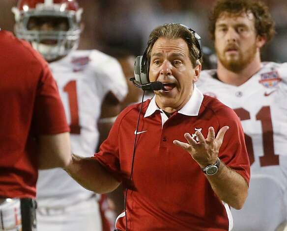 Alabama head coach Nick Saban reacts to a call during the first half of the BCS National Championship college football game against Notre Dame Monday, Jan. 7, 2013, in Miami. (AP Photo/John Bazemore) Photo: John Bazemore, Associated Press