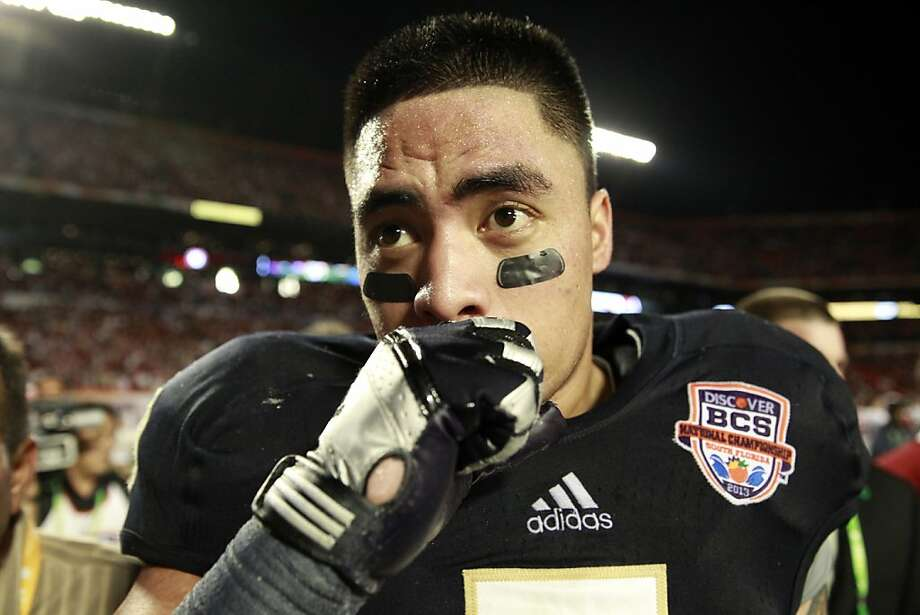 Notre Dame linebacker Manti Te'o (5) fights his emotions as he leaves the field after a 42-14 loss against Alabama in the BCS National Championship game at Sun Life Stadium on Monday, January 7, 2013, in Miami Gardens, Florida. (Nuccio DiNuzzo/Chicago Tribune/MCT) Photo: Nuccio DiNuzzo, McClatchy-Tribune News Service