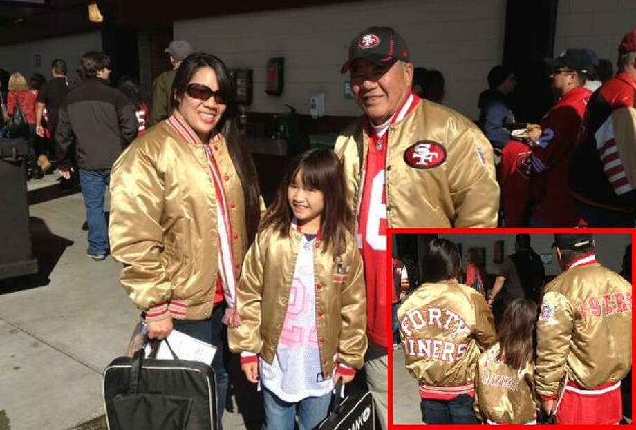 Three generations of gold satin jackets! Kimi Wong, her father Benson and her niece Emmeline at Candlestick Park. Kimi says when she was young she wished they made gold satin jackets for little girls. Kimi writes: My father, Benson Wong, has been taking me to 49er games for as long as I can remember! In doing that, he created a lifelong 49er fan.