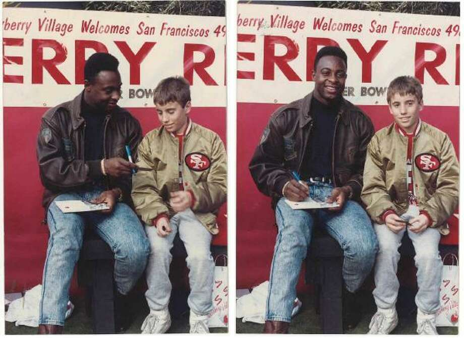 This 1989 photo from Lou Ferrari features two 49ers classics: The gold satin jacket and Jerry Rice's high top fade. Lou writes: I pretty much lived in my 49ers gold jacket growing up. Meeting Jerry Rice at the Strawberry Shopping Center in Mill Valley after Niners won SB XXIII. Since my birthday is in late January, I may have just turned 12 at the time.