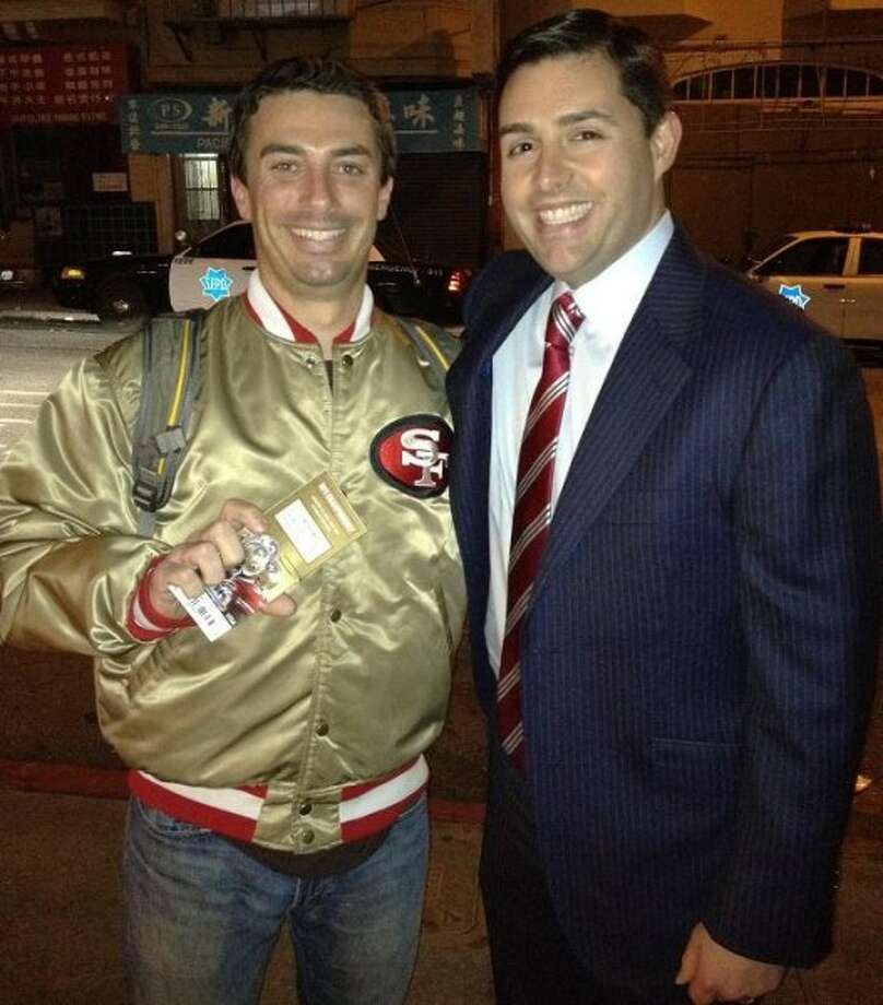 Marz Garcia was profiled in our Tales of the Gold Satin 49ers Jacket series. Jed York noticed his jacket last year, and gave Marz two playoff tickets. They're pictured together here. Marz writes: One of those special moments when fate touches you.  I feel so lucky. The moral of the story: don't be afraid to fly your colors!!