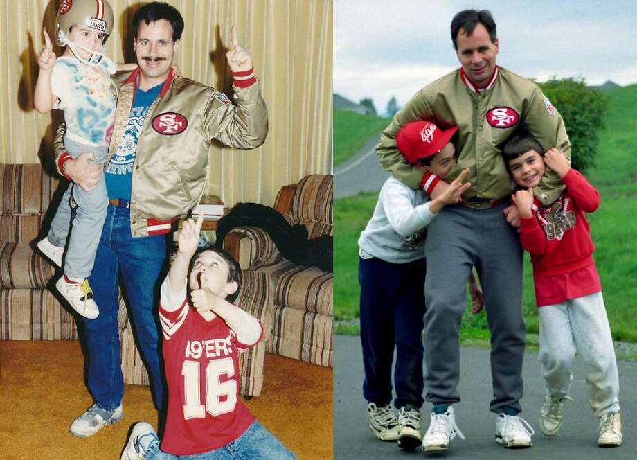 Marc Sharrow celebrates the Super Bowl XXIII victory with sons Casy and Shawn in 1989. The second photo was taken Thanksgiving 1994. Wife Evelyn writes: Of all the possessions that our boys will inherit some day the only item I've ever heard them argue over is the gold Forty Niner jacket.  I guess they will have to toss a coin to see who gets the gold jacket and who ends up with the black satin SF Giants jacket.