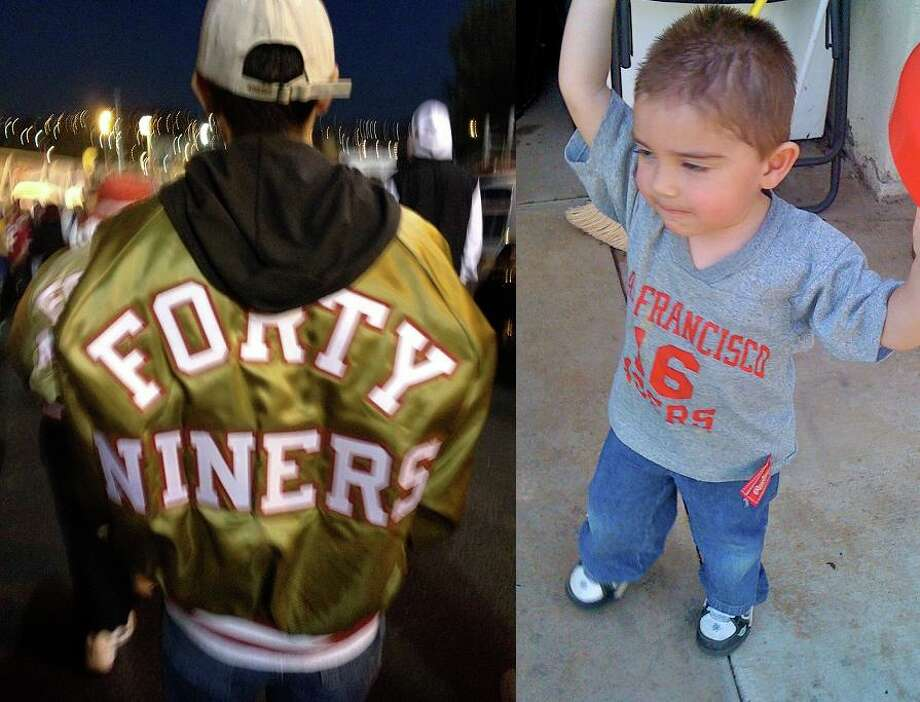 Noemi Perez writes: My dad bought this jacket in the 1980s. This is my brother wearing it at the 49er Rams game last Sunday. The second picture is my little nephew wearing my old Joe Montana T-shirt from when I was a small child. He's only borrowing it as I am saving it for my own kids.