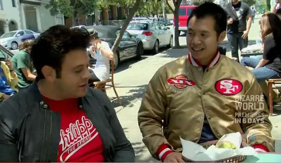 George's parents immigrated from Hong Kong, and he developed his 49ers loyalty from his family friend and neighbor Faye, who passed in 2005. He gets huge bonus points for wearing the jacket on an episode of Man vs. Food in 2009 when the team was struggling. George writes: As a true Faithful, regardless of dark or prosperous times, I wore my satin 49ers gold and red jacket with pride. ... I wore my jacket then and now not just because I am faithful, I believe in them, they are winning, it looks good with my shoes, but also because Faye made this jacket look good through my eyes and I wanted to be just like her, 'True American San Franciscan.'