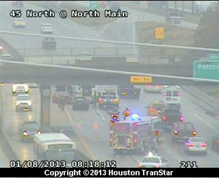 Traffic was snarled on the northbound North Freeway near North Main after a wreck about 7:40 a.m. Tuesday. Photo: Houston Transtar