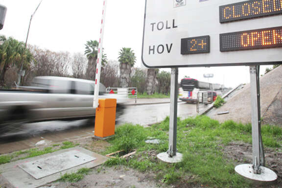 HOV Hot Lane access ramp to I-45 South at Pierce and Dowling in Downtown where solo drivers willing to pay a fee to get to work or home faster can use the High-Occupancy Toll (HOT) lane on the Gulf Freeway starting Monday on Friday, Feb. 17, 2012, in Houston.