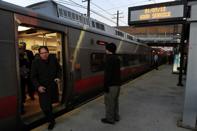 A Metro North train arrives at the Fairfield railroad station, in Fairfield, Conn. Jan. 7th, 2012. Photo: Ned Gerard / Connecticut Post