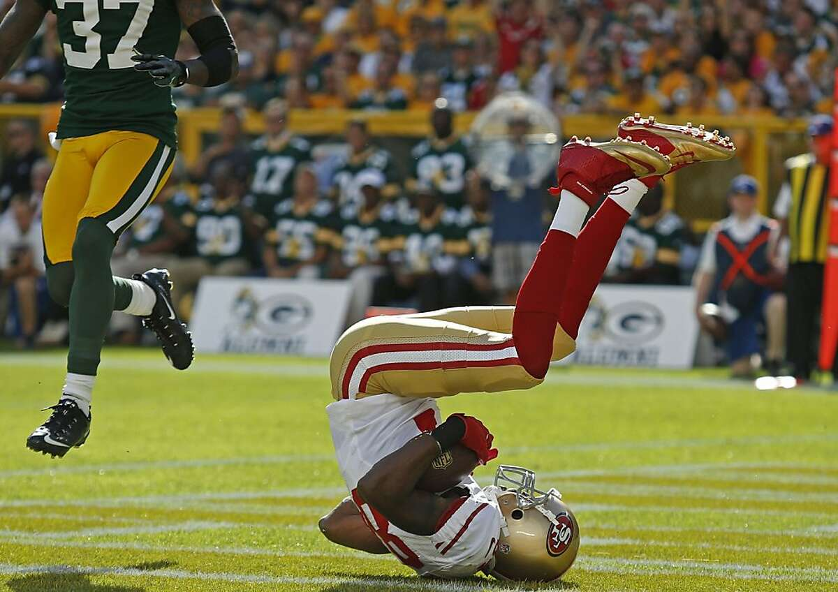 San Francisco 49ers wide receiver Randy Moss catches a pass for a touchdown against the Green Bay Packers during an NFL football game Sunday, Sept. 9, 2012, in Green Bay, Wis. By Matt Ludtke/SPECIAL TO THE CHRONICLE
