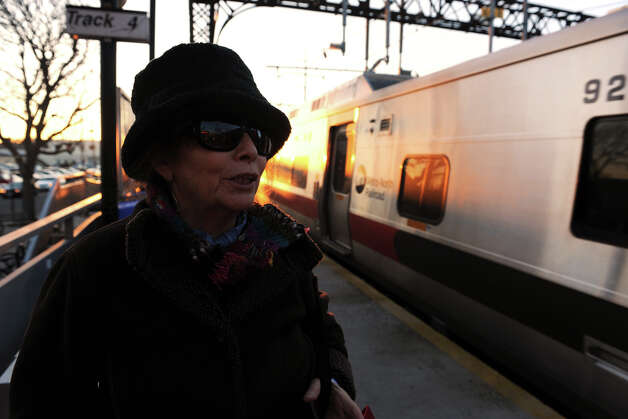 Alice Lowe, of Fairfield, speaks at the Fairfield railroad station after riding Metro North home Jan. 7th, 2012. Photo: Ned Gerard / Connecticut Post