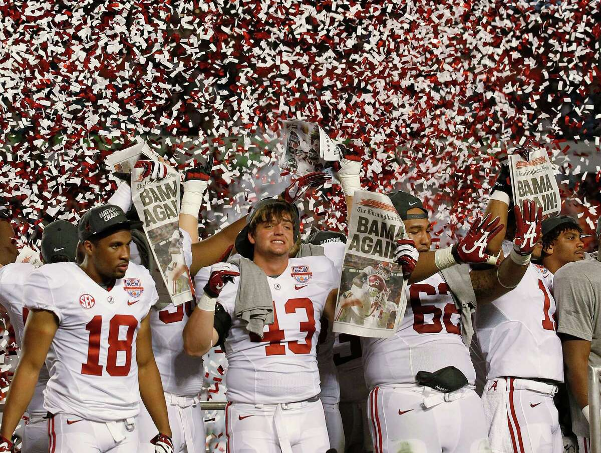 A lot of people are talking dynasty after Alabama steamrolled Notre Dame on Monday night in the BCS Championship. To be sure, the Tide were impressive in crushing the Irish with an ease normally reserved for SEC teams playing hapless Big Ten foes. They were rewarded by being voted No. 1 in the AP and coaches' polls for the third time in four years, but the national titles (and the other 12 the Tide claim) remain purely mythical.  The four-team playoff system to be introduced in the 2014 season is a step in the right direction, but it's not good enough. And though this year's