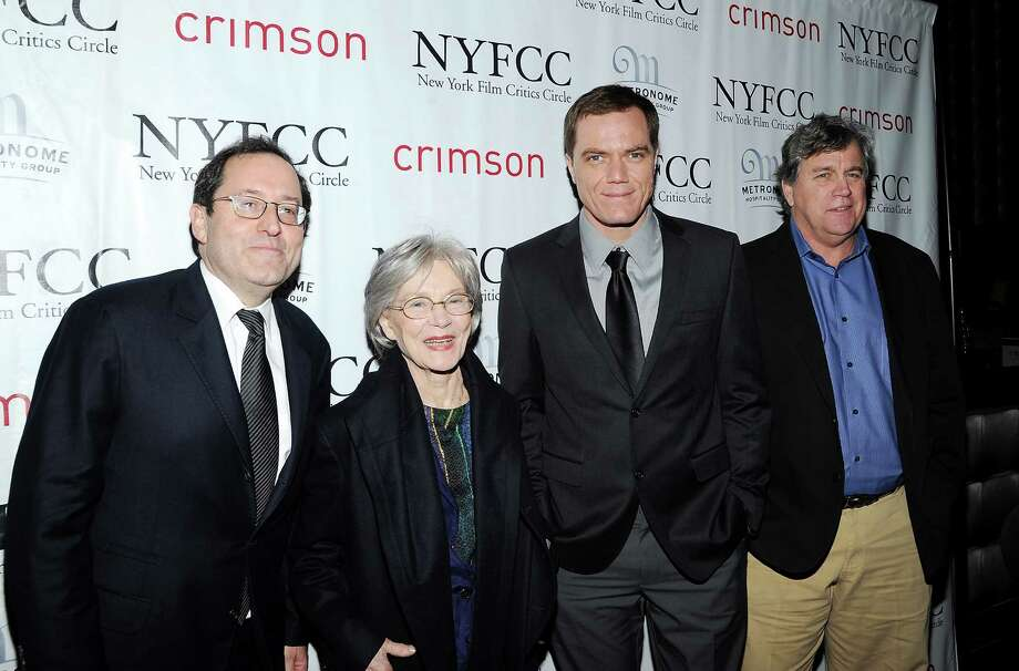 Sony Pictures Classics co-presidents Michael Barker, left, and Tom Bernard, right, actress Emmanuelle Riva and actor Michael Shannon arrive at the New York Film Critics Circle awards dinner at the Crimson Club on Monday Jan. 7, 2013 in New York. Photo: Evan Agostini, Evan Agostini/Invision/AP / Invision