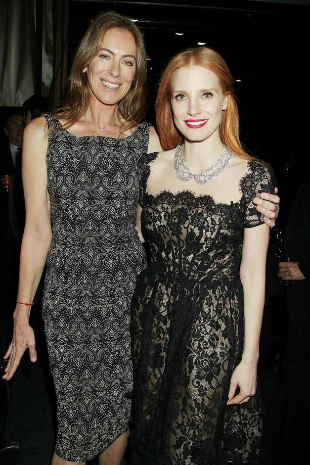 "This Jan. 7, 2013 photo released by Starpix shows director Kathryn Bigelow and actress Jessica Chastain from the film ""Zero Dark Thirty,"" at the New York Film Critics Circle awards dinner at the Crimson Club in New York. Photo: Dave Allocca, AP / StarPix"