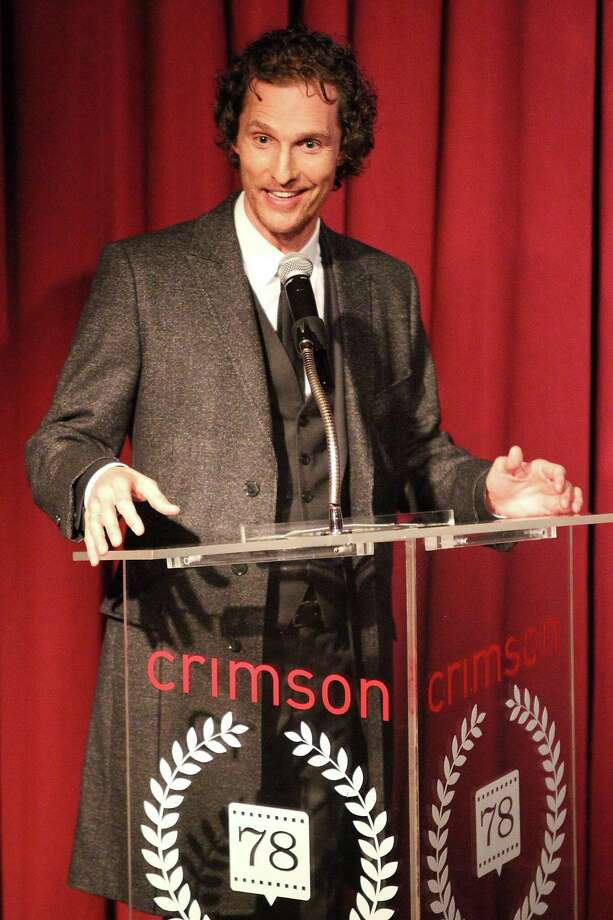 "This Jan. 7, 2013 photo released by Starpix shows actor Matthew McConaughey speaking at the New York Film Critics Circle Awards at the Crimson Club in New York. Matthew McConaughey won the award for best supporting actor for his performances in ""Bernie,"" and ""Magic Mike."" Photo: Kristina Bumphrey, AP / STARPIX"