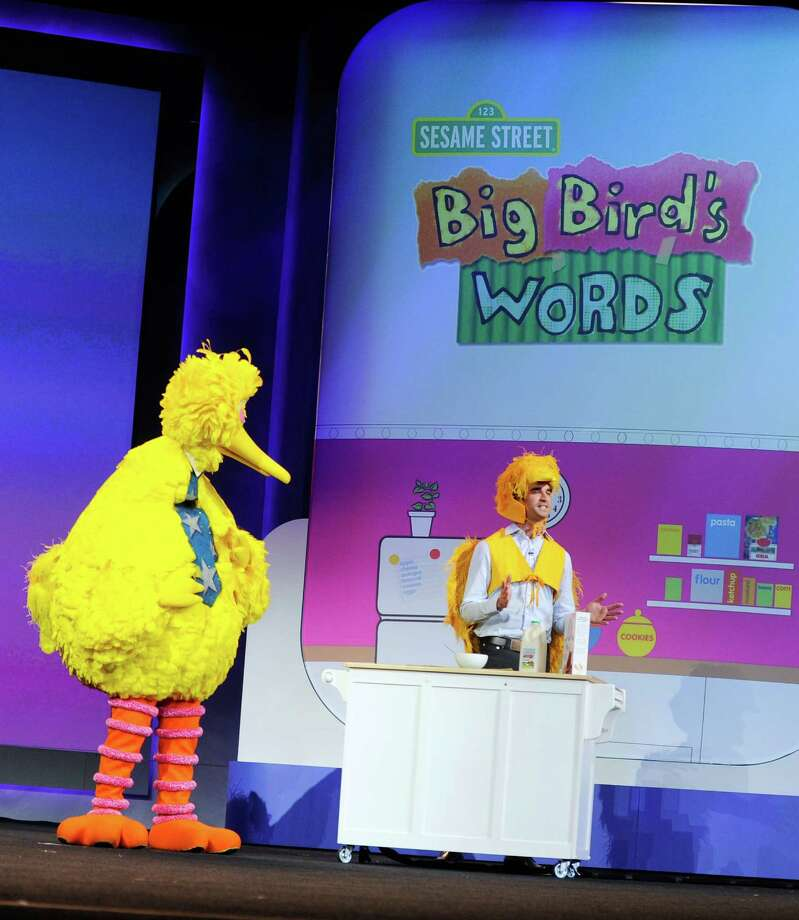 LAS VEGAS, NV - JANUARY 07:  Big Bird of Sesame Street appears on stage during a keynote address at the 2013 International CES at The Venetian on January 7, 2013 in Las Vegas, Nevada. CES, the world's largest annual consumer technology trade show, runs from January 8-11 and is expected to feature 3,100 exhibitors showing off their latest products and services to about 150,000 attendees. Photo: David Becker, Getty Images / 2013 Getty Images