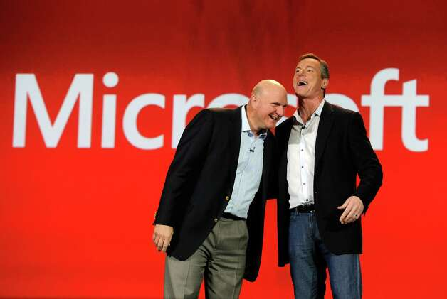 Microsoft Corp CEO Steve Ballmer (left) and Qualcomm Chairman and CEO Paul Jacobs appear on stage together during a keynote address at the 2013 International CES at The Venetian on January 7, 2013 in Las Vegas. Photo: David Becker, Getty Images / 2013 Getty Images