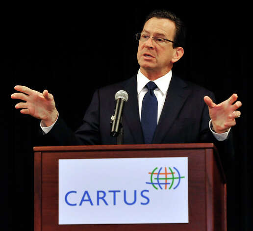 Connecticut Gov. Dannel P. Malloy is the keynote speaker at a Greater Danbury Chamber of Commerce breakfast held at Cartus Tuesday, Jan. 8, 2012. Photo: Michael Duffy / The News-Times