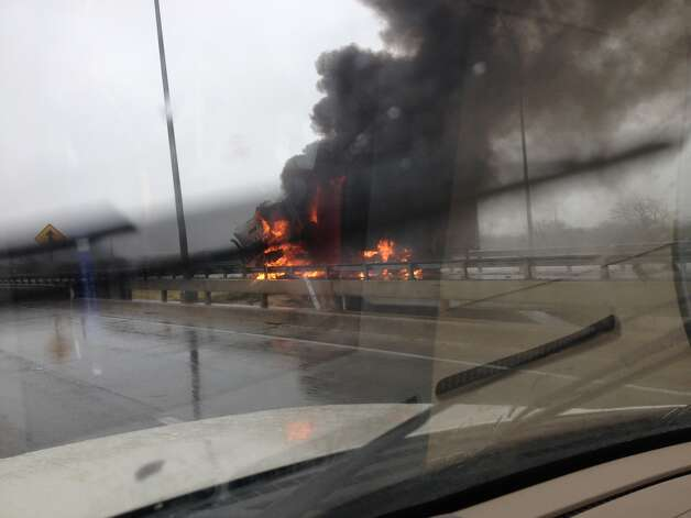 A truck burns at Interstate 37 and Loop 410 Tuesday, Jan. 8, 2013. Photo: Courtesy
