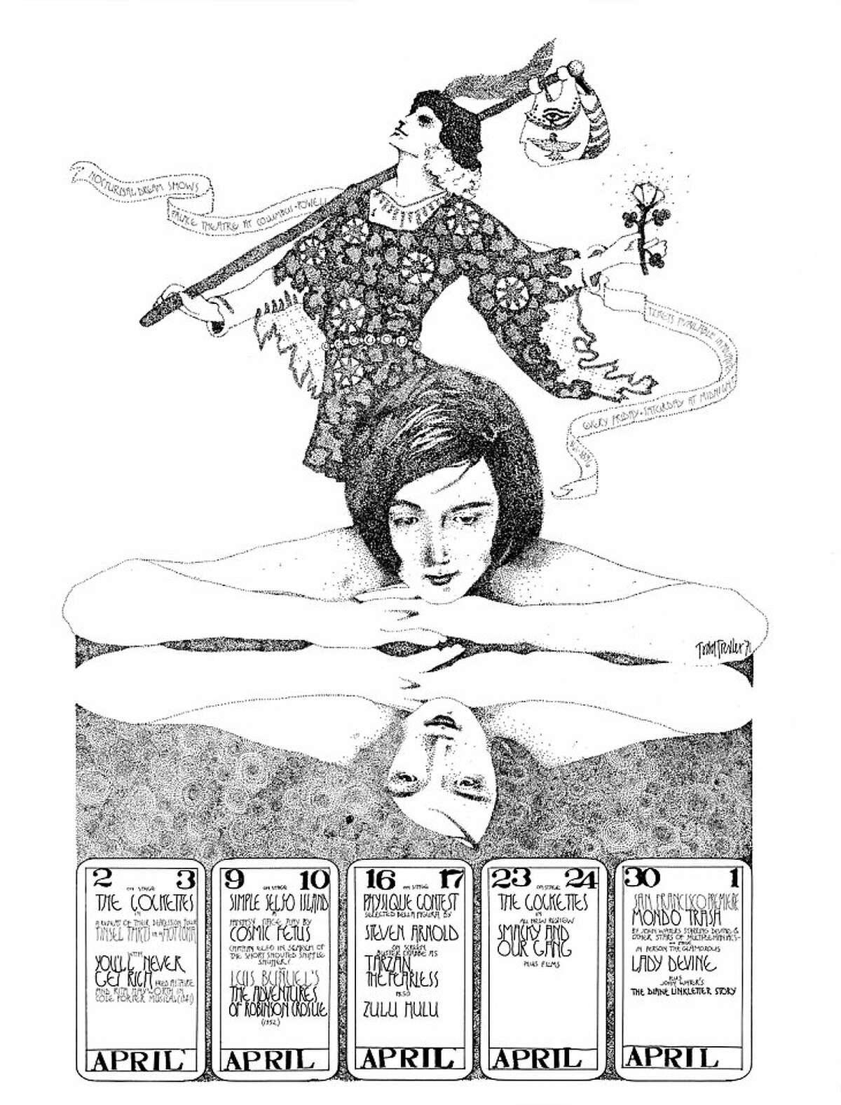 Nocturnal dream show poster and caption: Nocturnal Dream Shows Lady Divine in person The Cockettes on stage April 1971