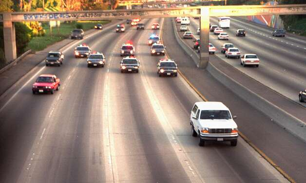 (1994) O.J. Simpson led police on a chase while in a white Ford Bronco. / AP1994