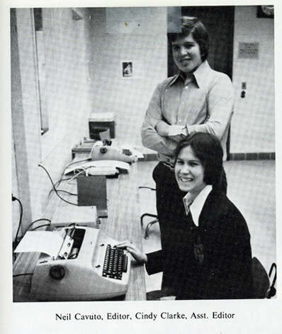 Neil Cavuto, standing, is a 1976 graduate of Immaculate High School in Danbury, and is shown here as yearbook editor. Today he is a financial analyst, television anchor and author. Photo: Contributed Photo