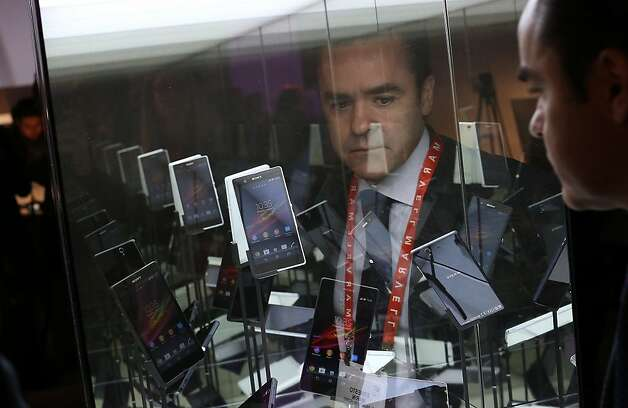 An attendee views a display of Sony Xperia Z smart phones during the 2013 International CES at the Las Vegas Convention Center on January 8, 2013 in Las Vegas, Nevada. Photo: Justin Sullivan, Getty Images