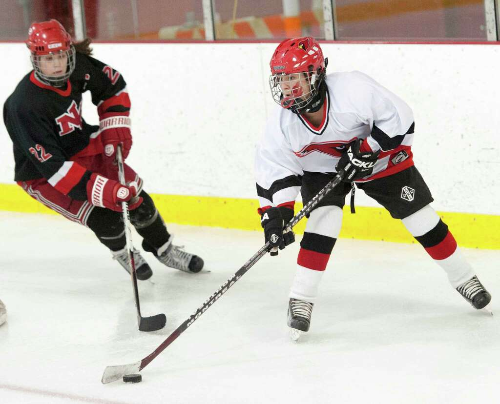 New Canaan High School Vs Greenwich In A Girls Ice Hockey Game Played At