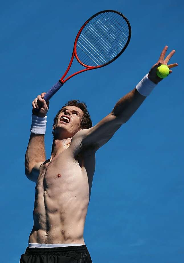 OK, Andy Murray, we get it -you have nice abs. Now put your shirt back on. (Practice session for the Australian Open at Melbourne Park.) Photo: Michael Dodge, Getty Images