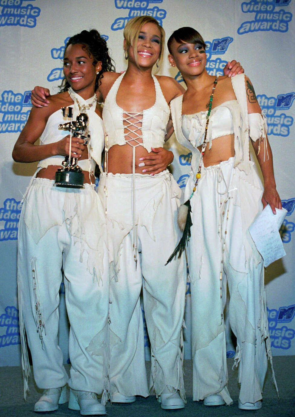 FILE - In this Sept. 7, 1995 file photo, the band TLC, from left, Rozanda