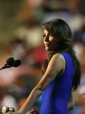 CHARLOTTE, NC - SEPTEMBER 06:  Actress Eva Longoria speaks on stage during the final day of the Democratic National Convention at Time Warner Cable Arena on September 6, 2012 in Charlotte, North Carolina. The DNC, which concludes today, nominated U.S. President Barack Obama as the Democratic presidential candidate. Photo: Joe Raedle, Getty Images / 2012 Getty Images