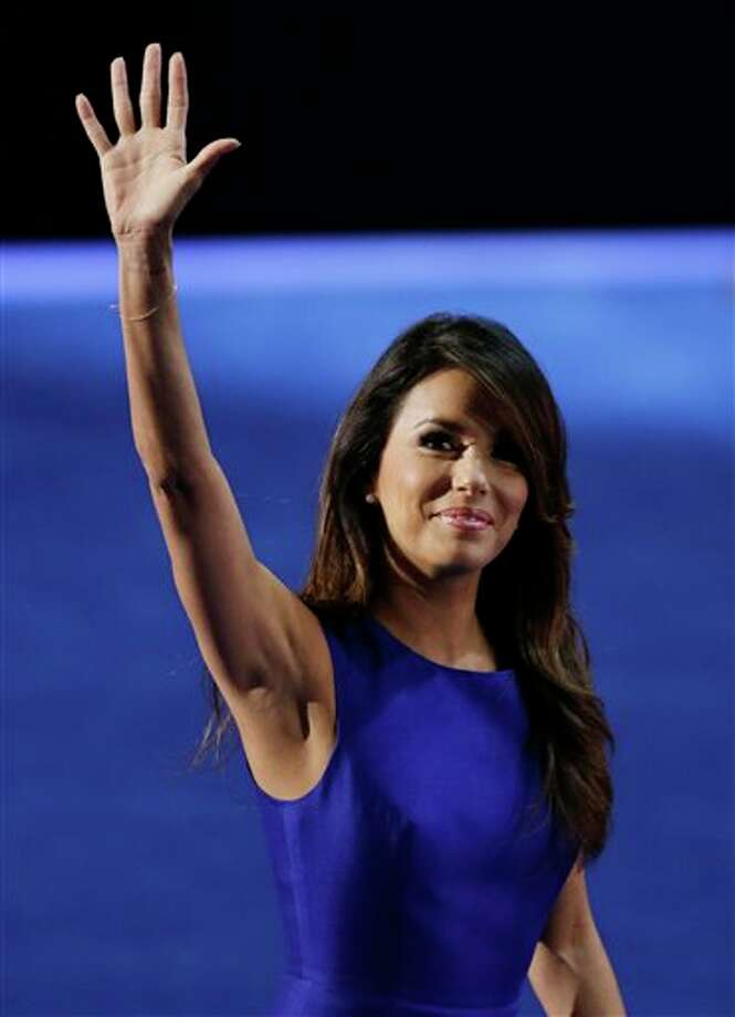 Obama Campaign Co-Chair Eva Longoria waves after speaking to delegates at the Democratic National Convention in Charlotte, N.C., on Thursday, Sept. 6, 2012. Photo: Lynne Sladky, AP / AP