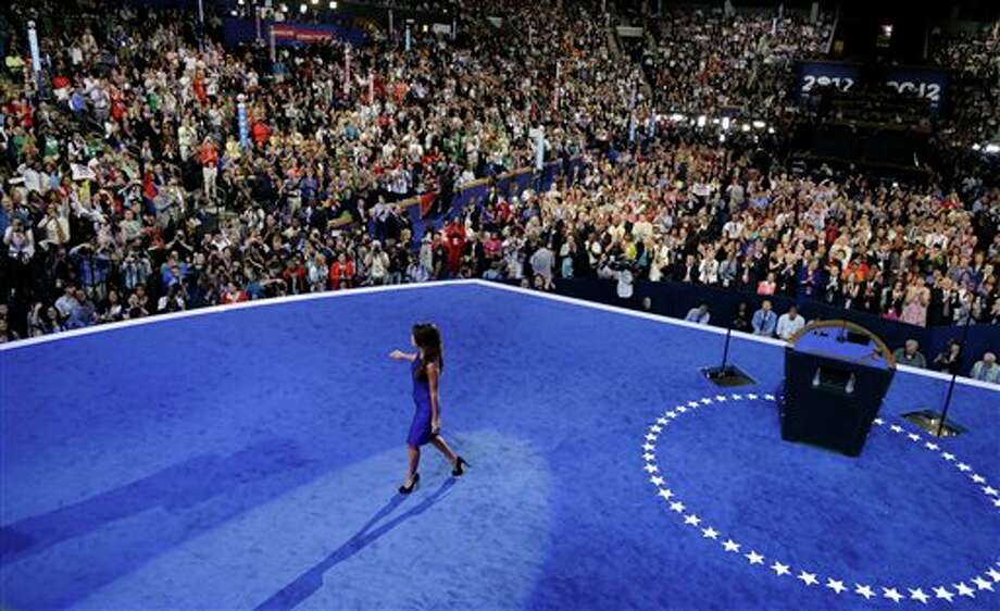 Obama Campaign Co-Chair Eva Longoria walks off stage after speaks to delegates at the Democratic National Convention in Charlotte, N.C., on Thursday, Sept. 6, 2012. Photo: Charlie Neibergall, AP / AP